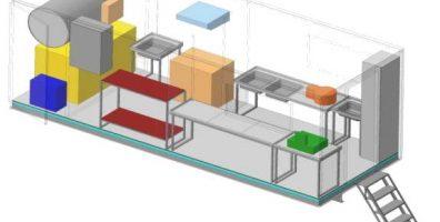 Схема расстановки рабочего оборудования передвижного грибоварочного пункта ПГП-250