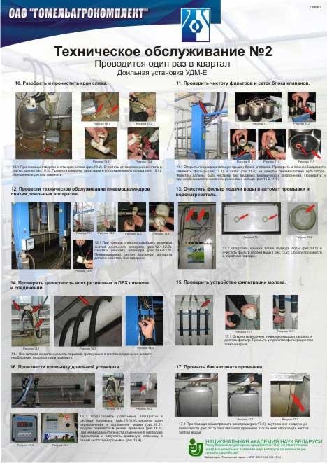 Комплект плакатов, отображающий основные технологические операции по техническому обслуживанию доильных установок производства ОАО «Гомельагрокомплект»